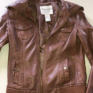 American rag brown leather jacket